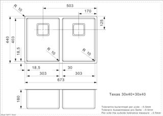 Reginox Texas L 30x40+30x40